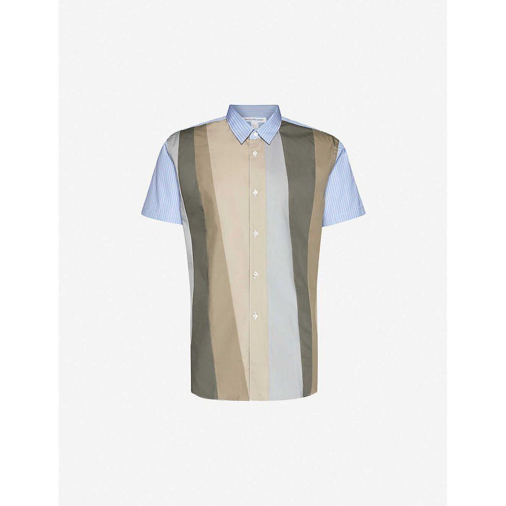 コム デ ギャルソン COMME DES GARCONS SHIRT メンズ 半袖シャツ トップス【asymmetrical-striped cotton shirt】Stripe Mix