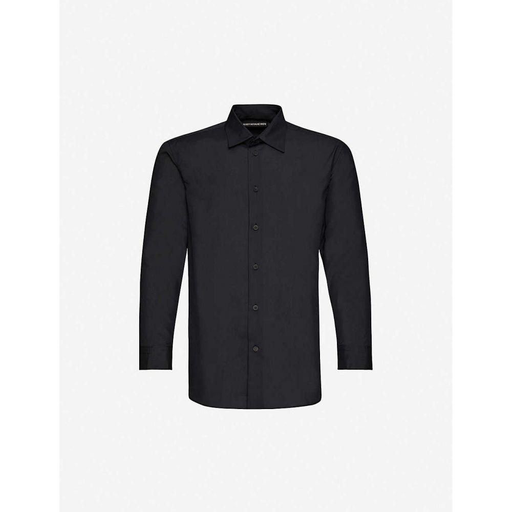 イッセイ ミヤケ ISSEY MIYAKE メンズ シャツ トップス【pleat-trim relaxed-fit woven shirt】BLACK