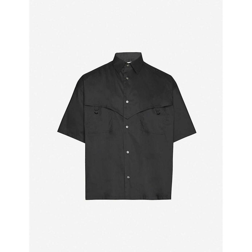 アンブッシュ AMBUSH メンズ 半袖シャツ トップス【logo-embroidered regular-fit cotton shirt】BLACK