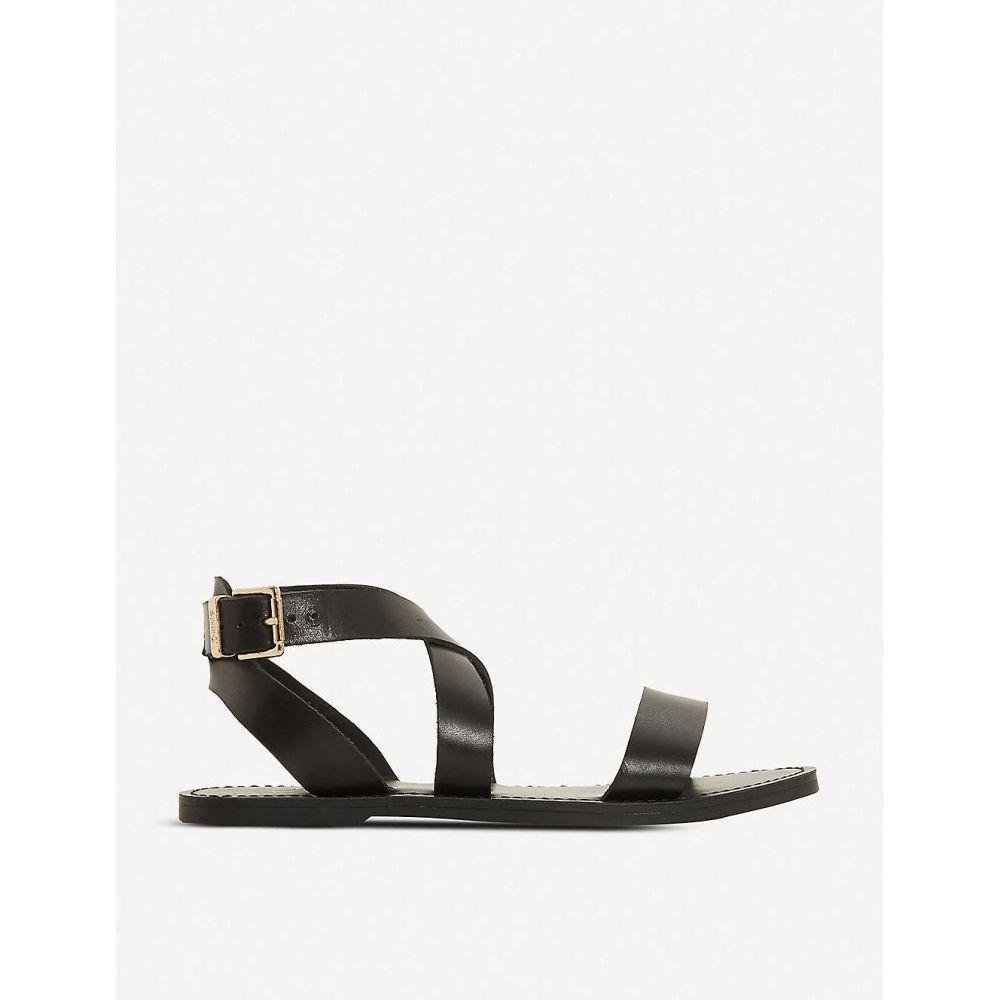 デューン DUNE レディース サンダル・ミュール シューズ・靴【leelah cross-over strap leather sandals】BLACK-LEATHER