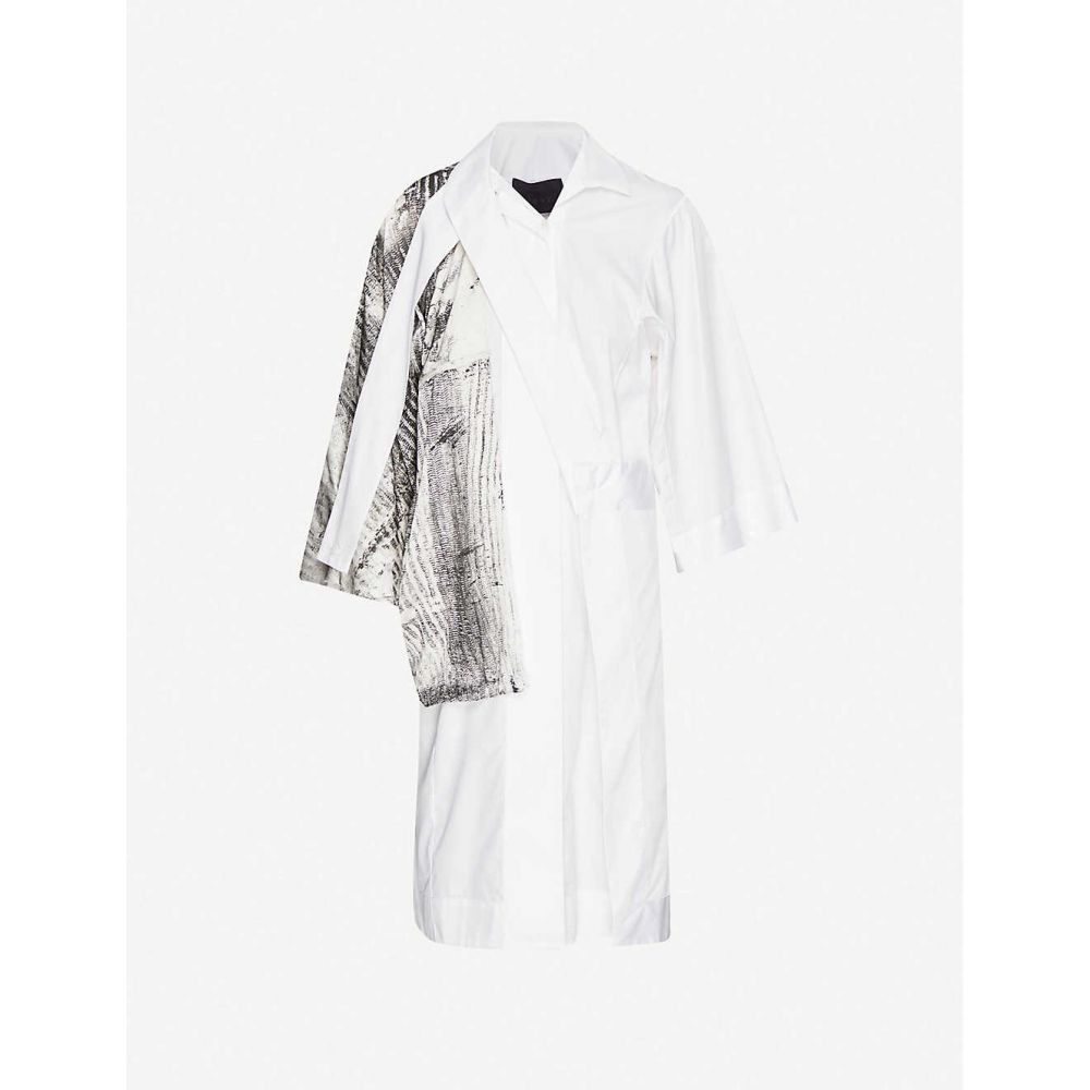 ウマル アシム OMER ASIM レディース ブラウス・シャツ シャツワンピース トップス【half mast contrast-panel cotton and silk shirt dress】Off White Black