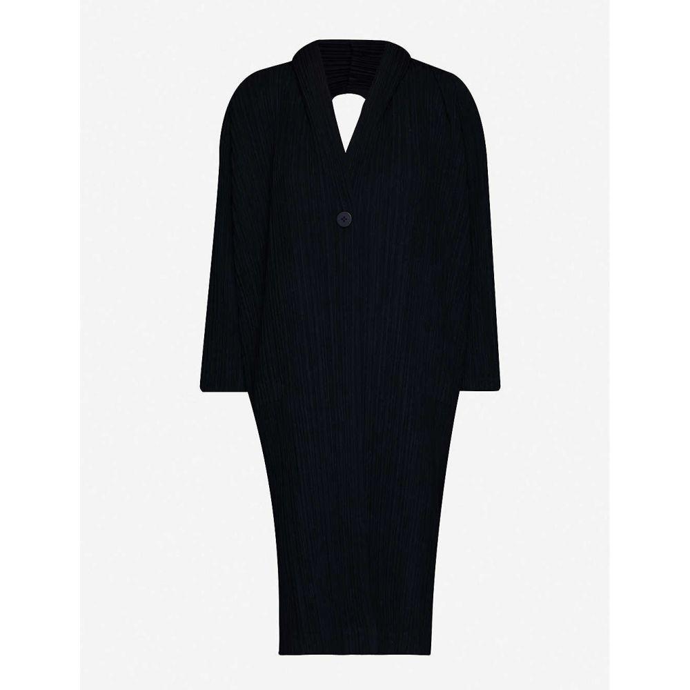 プリーツ プリーズ イッセイ ミヤケ PLEATS PLEASE ISSEY MIYAKE レディース コート アウター【shawl-collar pleated wool-blend coat】MIDNIGHT NAVY