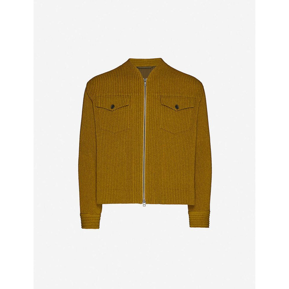 イッセイ ミヤケ HOMME PLISSE ISSEY MIYAKE メンズ ブルゾン ミリタリージャケット アウター【pleated faux-wool bomber jacket】Yellow