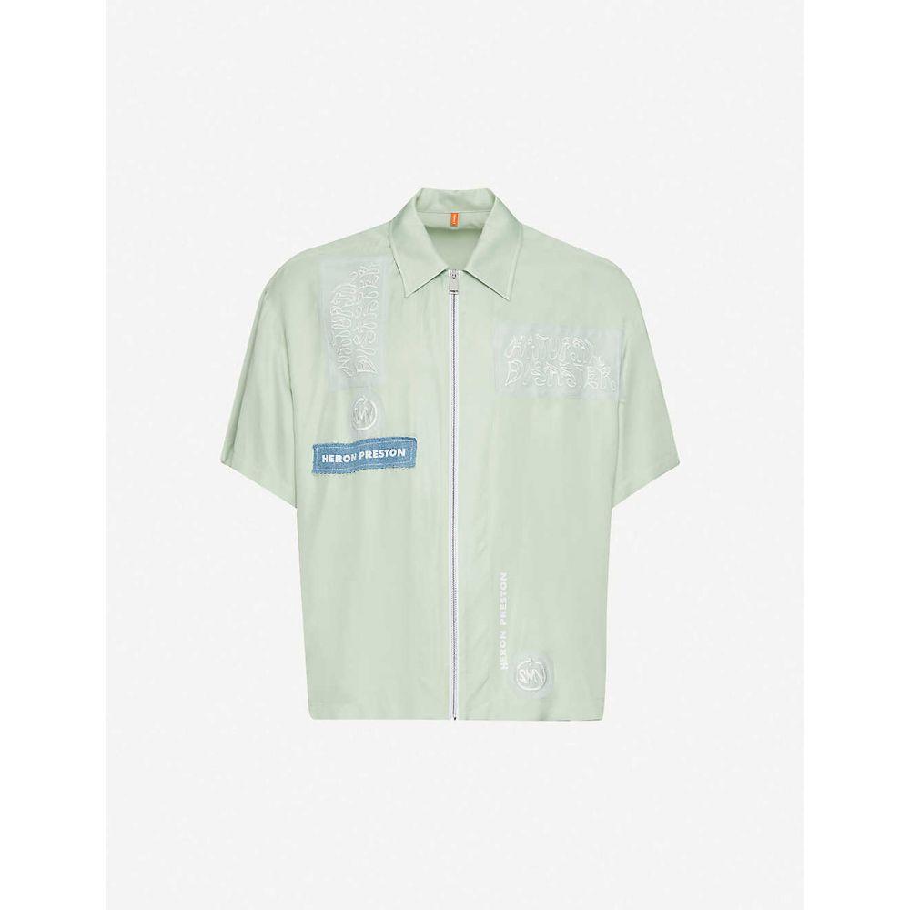 ヘロン プレストン HERON PRESTON メンズ 半袖シャツ トップス【embroidered cotton shirt】Mint White