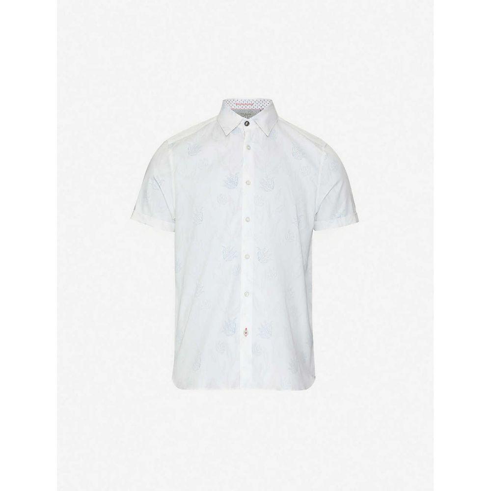テッドベーカー TED BAKER メンズ 半袖シャツ トップス【walkin floral-print stretch-cotton shirt】WHITE
