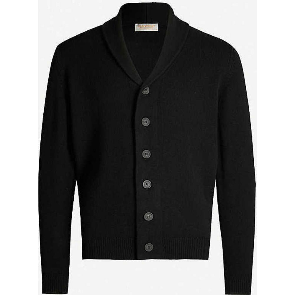 ジョンスメドレー JOHN SMEDLEY メンズ カーディガン トップス【patterson cashmere and wool cardigan】BLACK