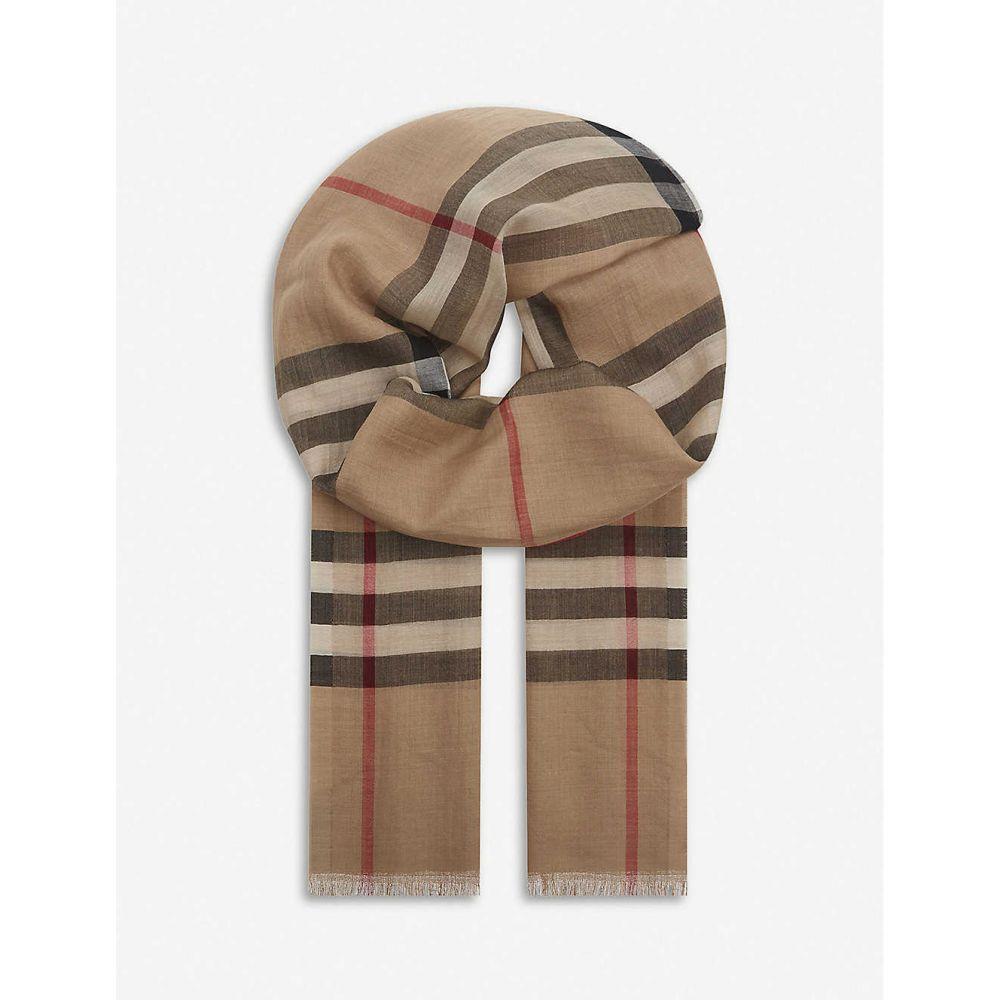 バーバリー BURBERRY レディース マフラー・スカーフ・ストール 【giant check wool and silk-blend scarf】CAMEL CHECK