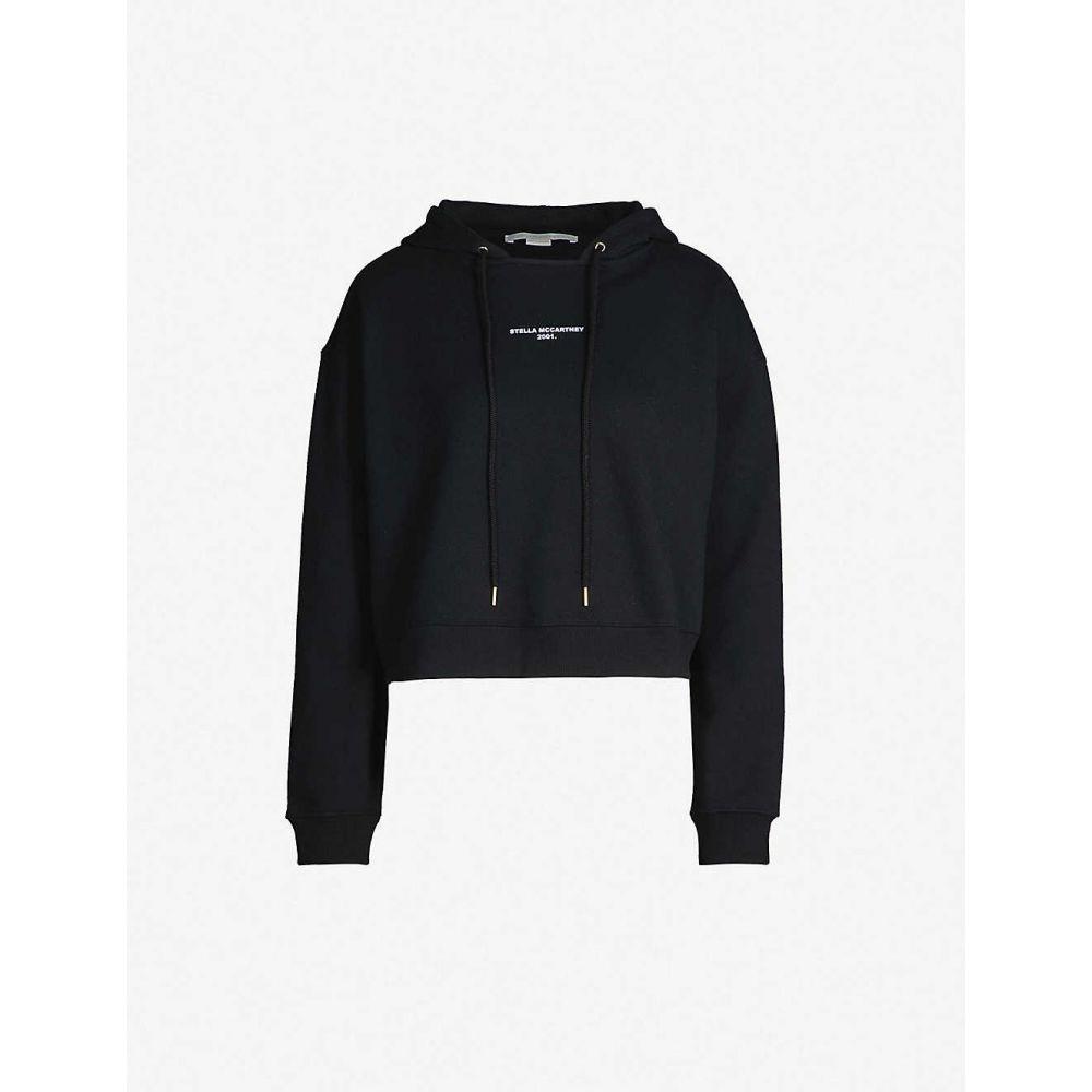 ステラ マッカートニー STELLA MCCARTNEY レディース パーカー トップス【logo-print cotton-jersey hoody】BLACK