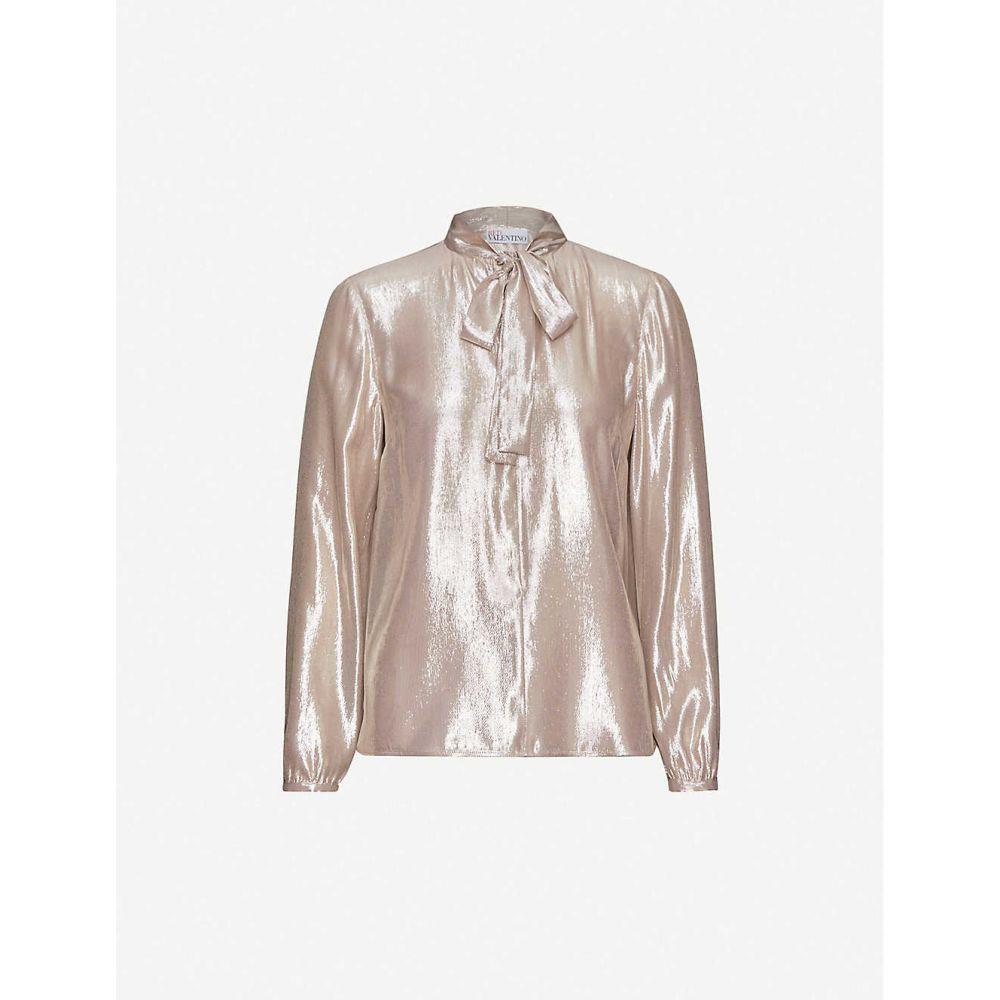 ヴァレンティノ RED VALENTINO レディース ブラウス・シャツ トップス【metallic pussy-bow woven blouse】Peau Dange