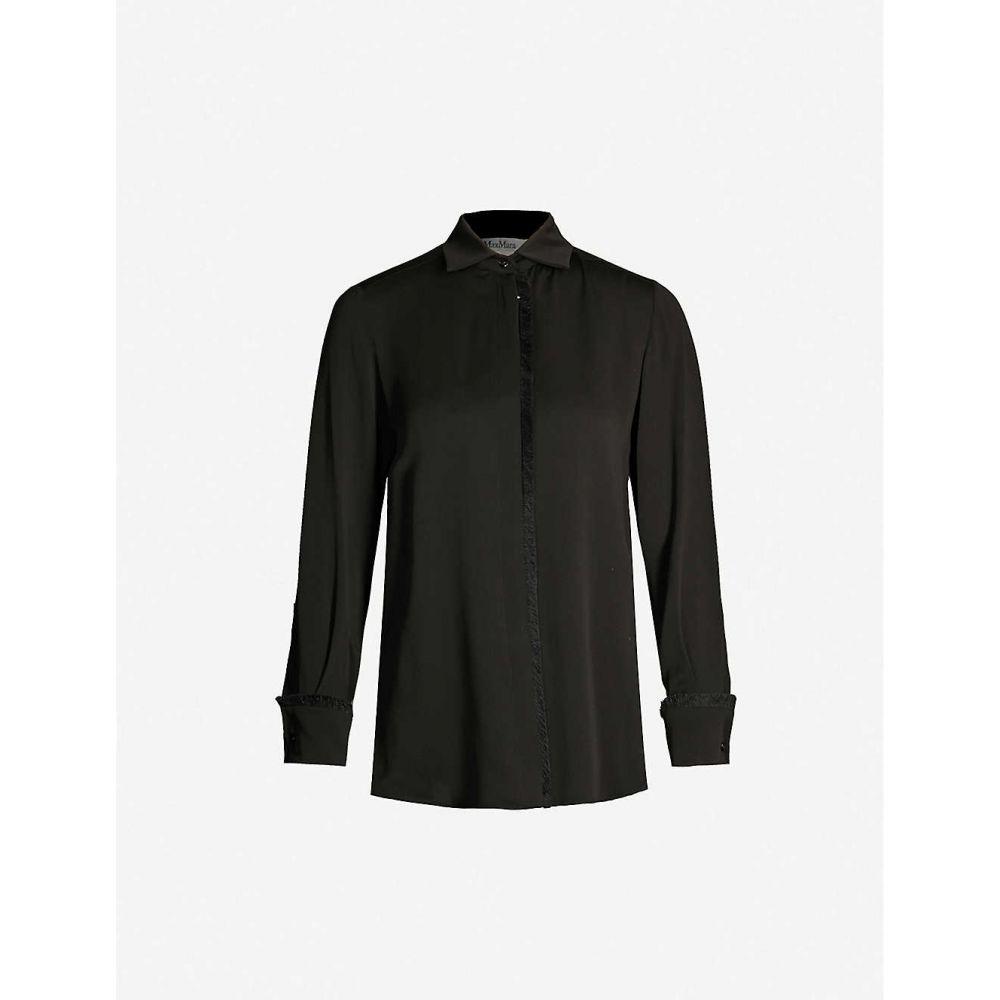 マックスマーラ MAX MARA レディース ブラウス・シャツ トップス【fringed-trim relaxed-fit silk shirt】NERO
