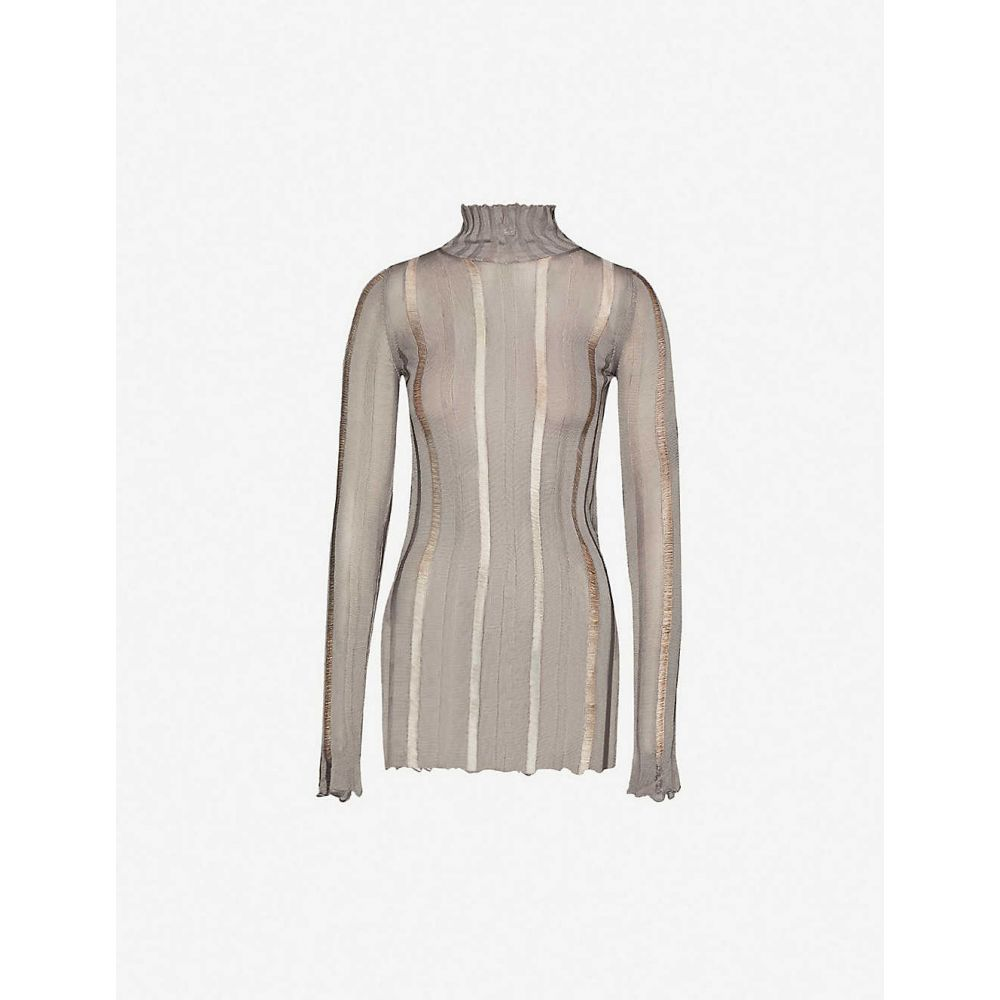 ヤンリ YANG LI レディース ニット・セーター トップス【high-neck striped panelled woven top】Silver