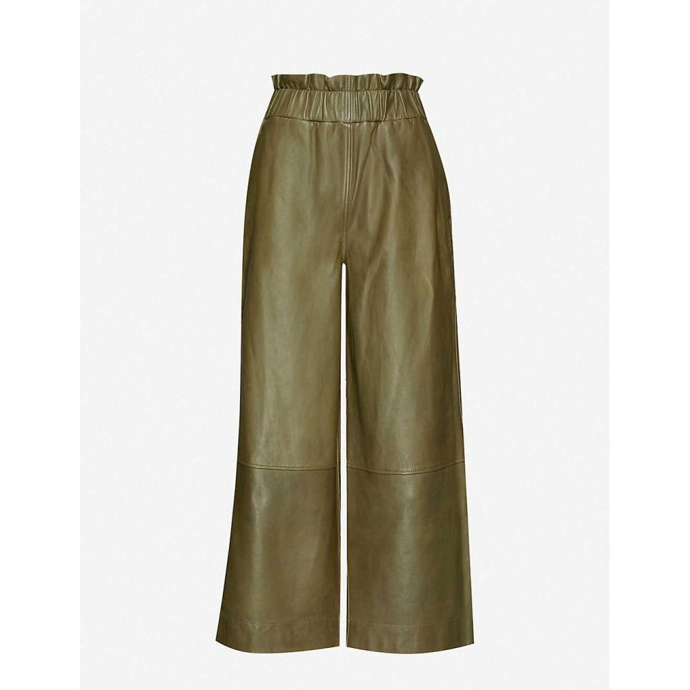 ガニー GANNI レディース ボトムス・パンツ 【high-rise wide leather trousers】Kalamata