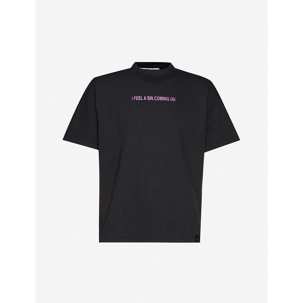 リカルドコミ RICCARDO COMI メンズ Tシャツ トップス【i feel a sin coming on metallic-print cotton-jersey t-shirt】BLACK