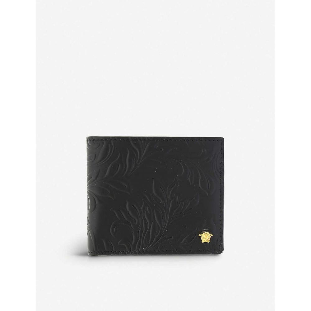 ヴェルサーチ VERSACE メンズ 財布 メデューサ 二つ折り【medusa floral-embossed leather billfold wallet】BLACK GOLD