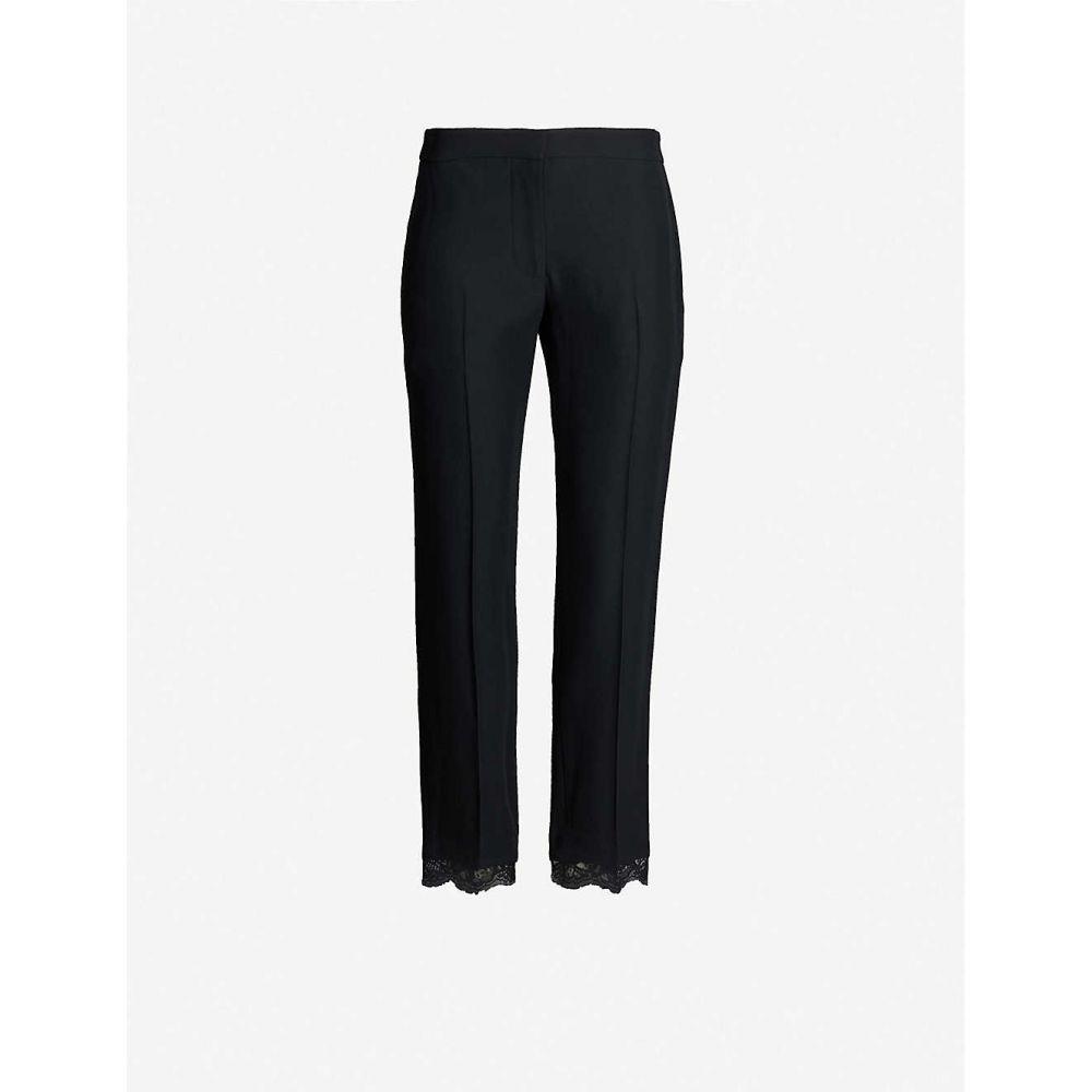 アレキサンダー マックイーン ALEXANDER MCQUEEN レディース ボトムス・パンツ 【lace-trimmed straight-leg high-rise crepe trousers】BLACK