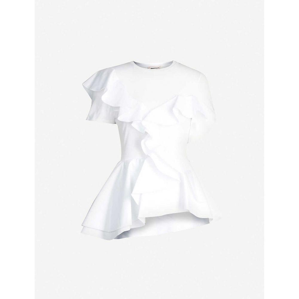 アレキサンダー マックイーン ALEXANDER MCQUEEN レディース Tシャツ トップス【ruffle jersey and poplin t-shirt】WHITE