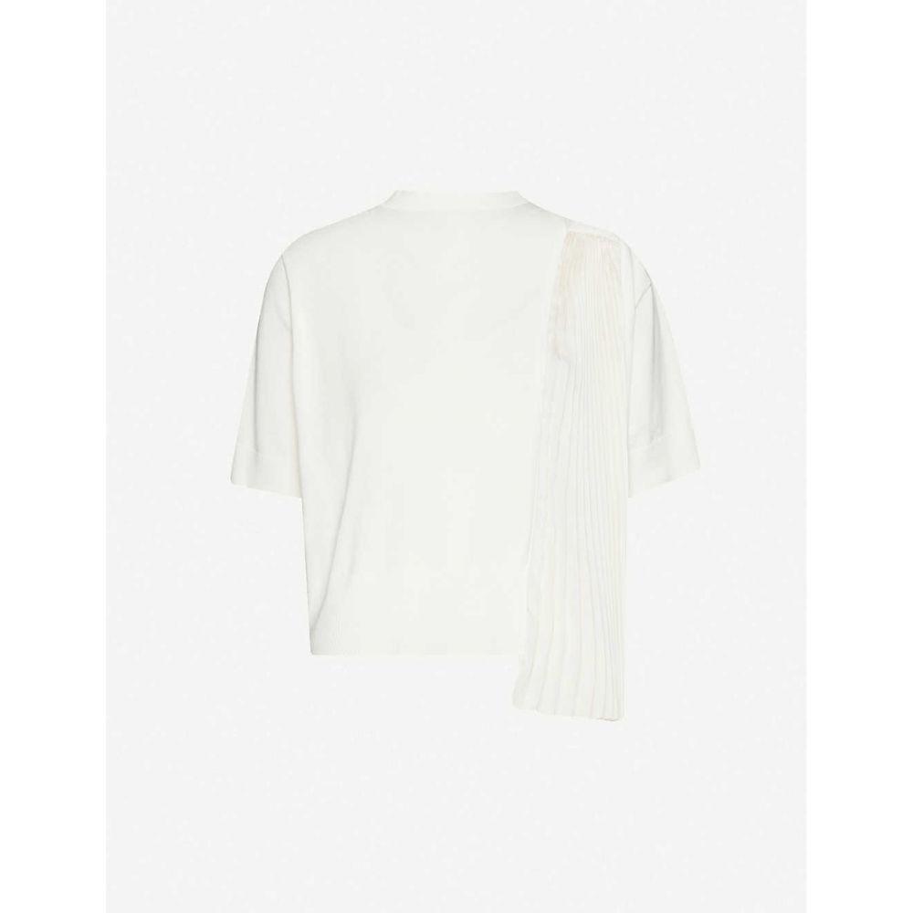サカイ SACAI レディース Tシャツ トップス【pleated-panel cotton-blend t-shirt】Off White