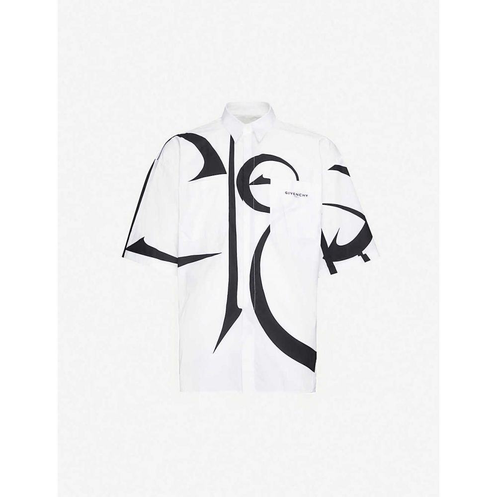 ジバンシー GIVENCHY メンズ 半袖シャツ トップス【oversized logo-print cotton shirt】White Black