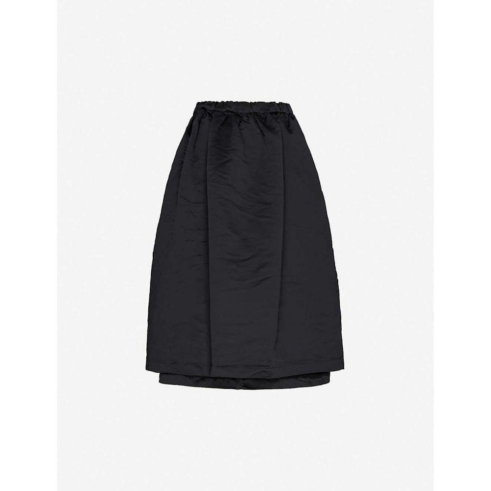 コム デ ギャルソン COMME COMME DES GARCONS レディース ひざ丈スカート スカート【drawstring-waist satin midi skirt】BLACK