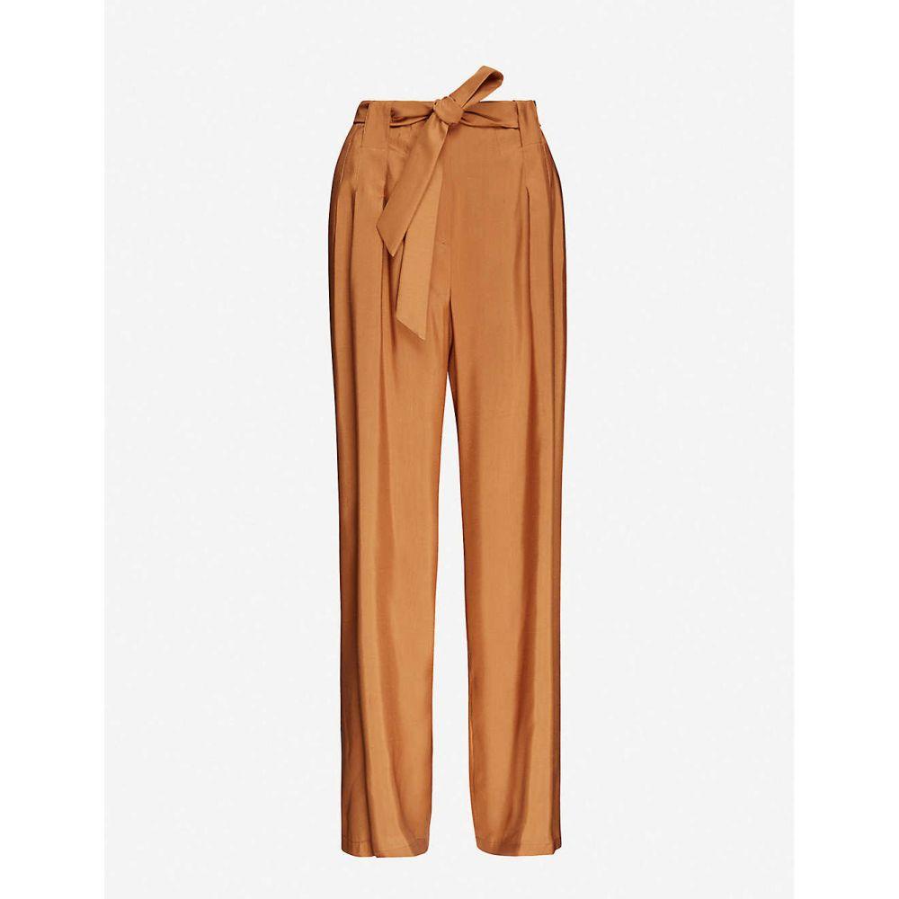 マックスマーラ MAX MARA レディース クロップド ボトムス・パンツ【self-tie wide-leg high-rise silk trousers】CUOIO