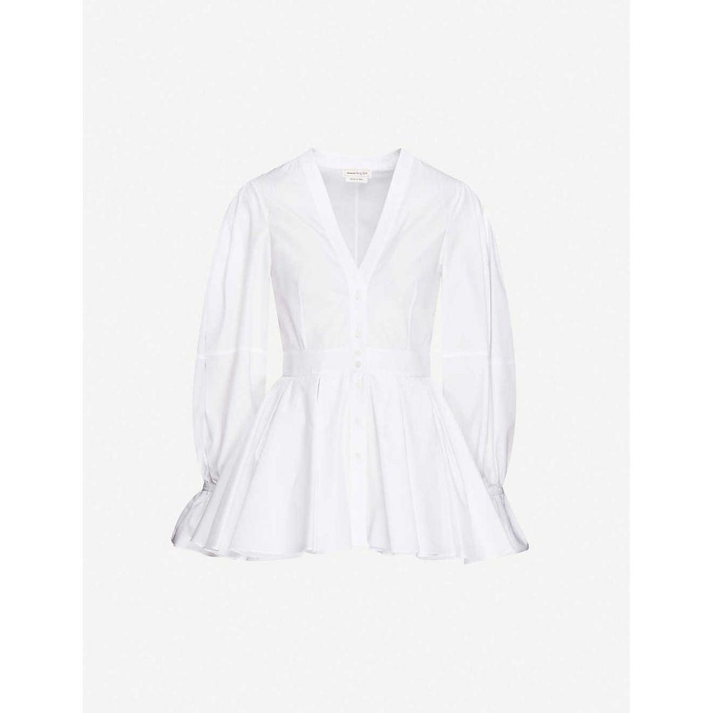 アレキサンダー マックイーン ALEXANDER MCQUEEN レディース ブラウス・シャツ トップス【lightweight slim-fit cotton shirt】Optical White