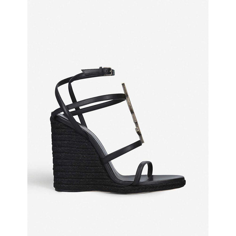 イヴ サンローラン SAINT LAURENT レディース サンダル・ミュール ウェッジソール シューズ・靴【cassandra 105 leather wedge sandals】BLACK