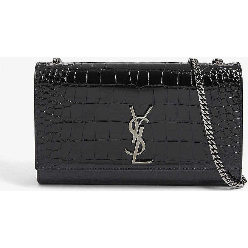 イヴ サンローラン SAINT LAURENT レディース ショルダーバッグ バッグ【kate croc-embossed leather shoulder bag】BLACK GUNMETAL