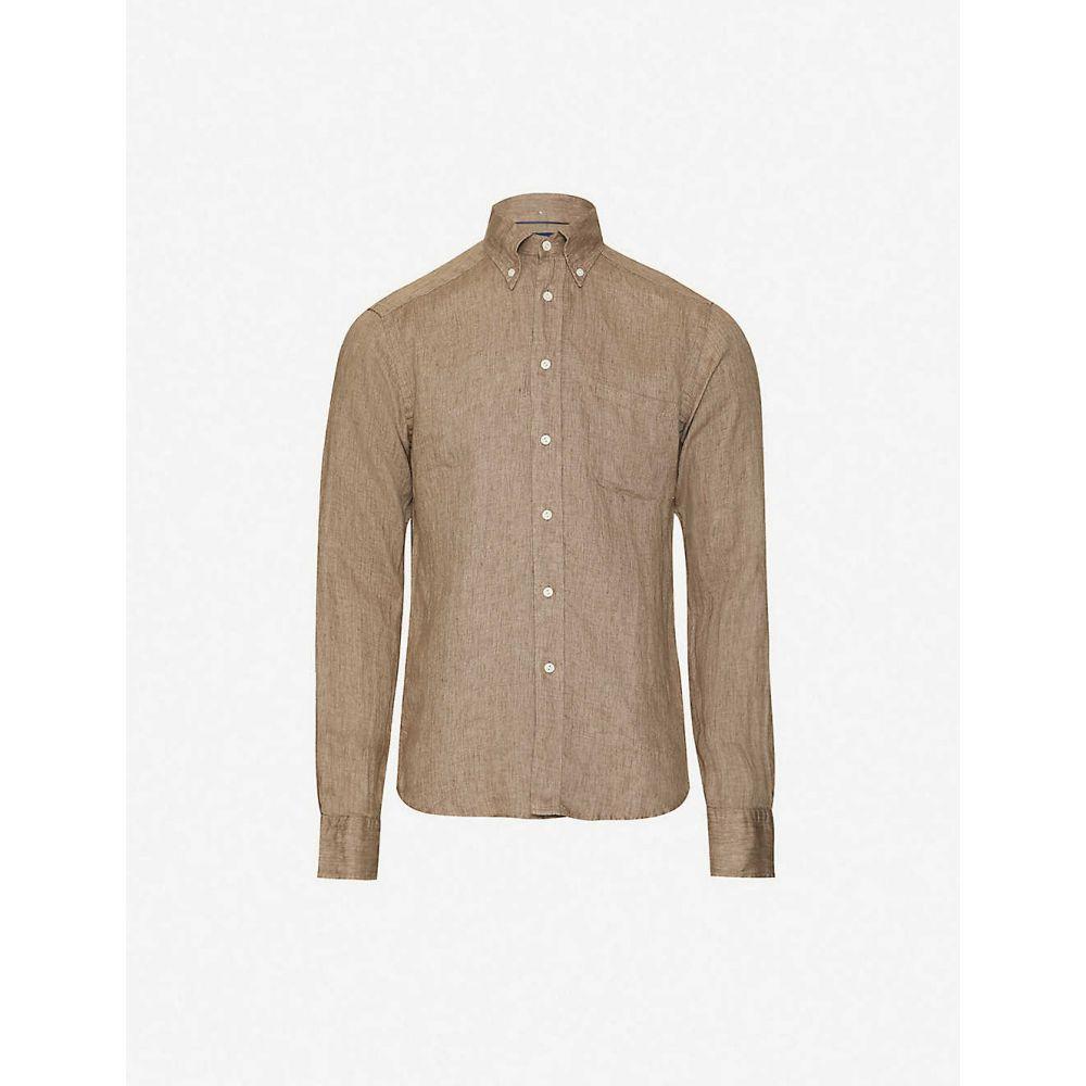 イートン ETON メンズ シャツ トップス【Contemporary-fit linen shirt】Offwhite/Brown
