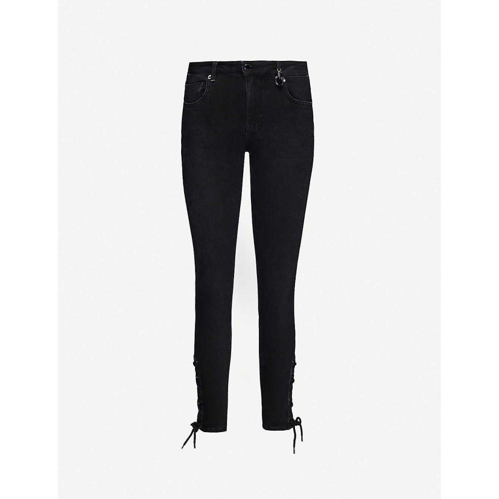 テッドベーカー TED BAKER レディース ジーンズ・デニム ボトムス・パンツ【Lattice-trim stretch-denim jeans】BLACK