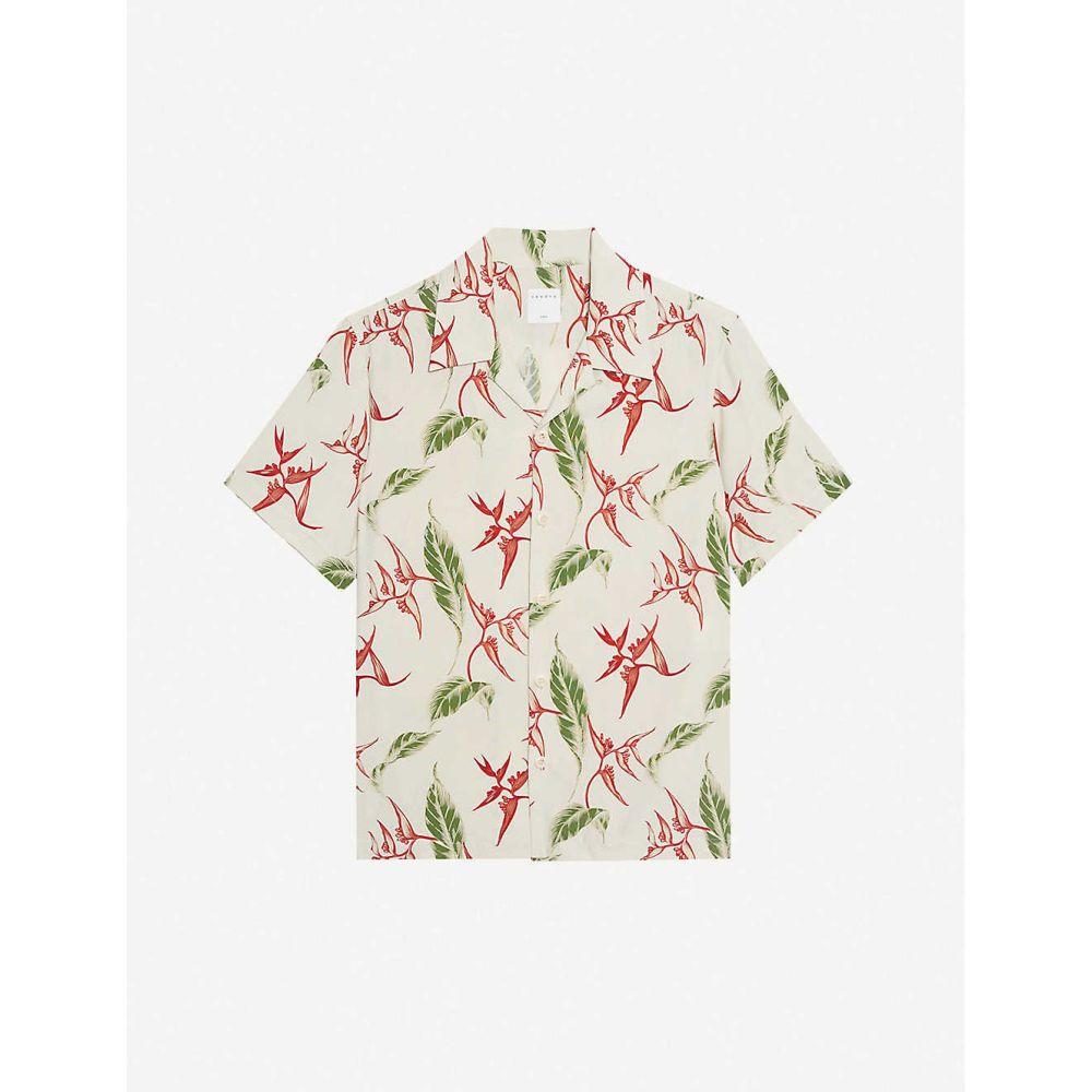 サンドロ SANDRO メンズ 半袖シャツ トップス【Tropical floral-print relaxed-fit crepe shirt】ECRU