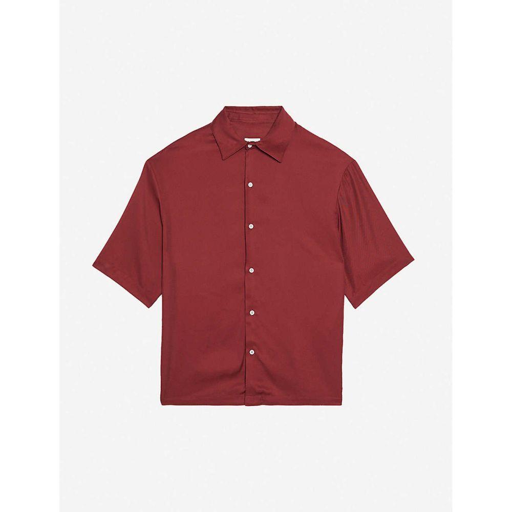 サンドロ SANDRO メンズ 半袖シャツ トップス【Saturday relaxed-fit crepe shirt】BORDEAUX