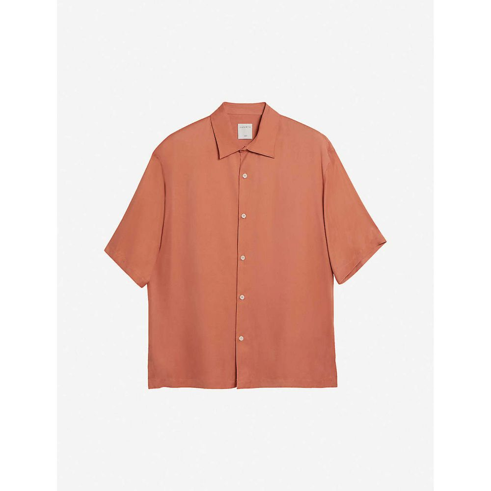 サンドロ SANDRO メンズ 半袖シャツ トップス【Saturday relaxed-fit crepe shirt】SALMON