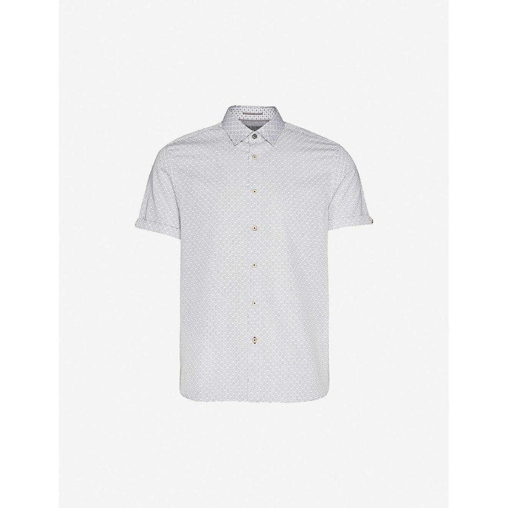 テッドベーカー TED BAKER メンズ 半袖シャツ トップス【Graphic-print slim-fit stretch-cotton shirt】WHITE