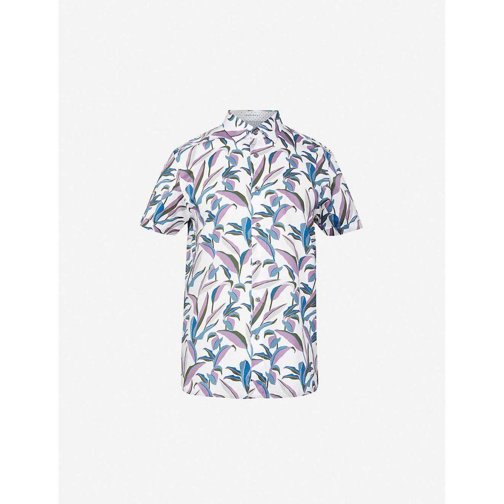 テッドベーカー TED BAKER メンズ 半袖シャツ トップス【Glampin graphic-print stretch-cotton shirt】WHITE