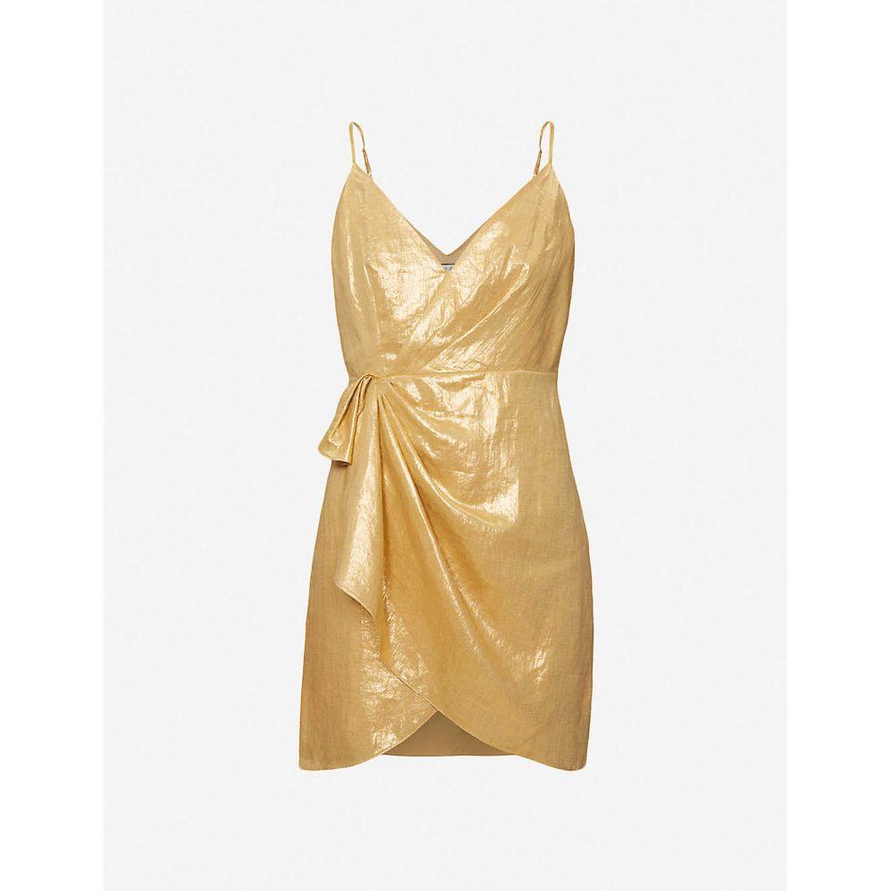 サンドロ SANDRO レディース パーティードレス ミニ丈 ワンピース・ドレス【Nia metallic woven mini dress】GOLD
