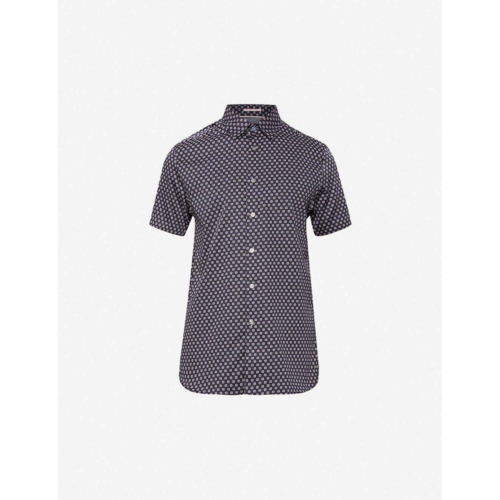 テッドベーカー TED BAKER メンズ 半袖シャツ トップス【Geometric-print regular-fit cotton shirt】NAVY