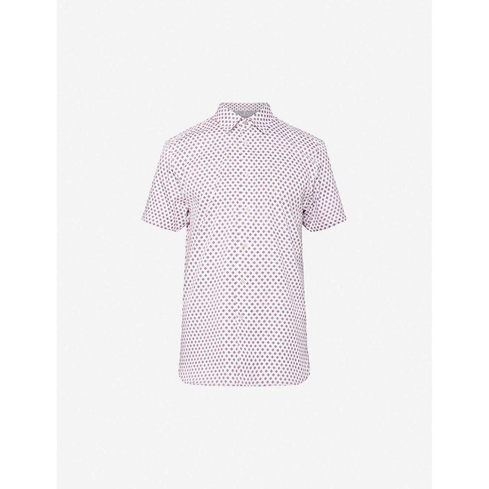 テッドベーカー TED BAKER メンズ 半袖シャツ トップス【Geometric-print regular-fit cotton shirt】WHITE