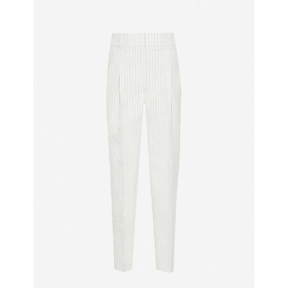 リース REISS レディース ボトムス・パンツ 【Shelby pinstriped high-rise woven trousers】WHITE