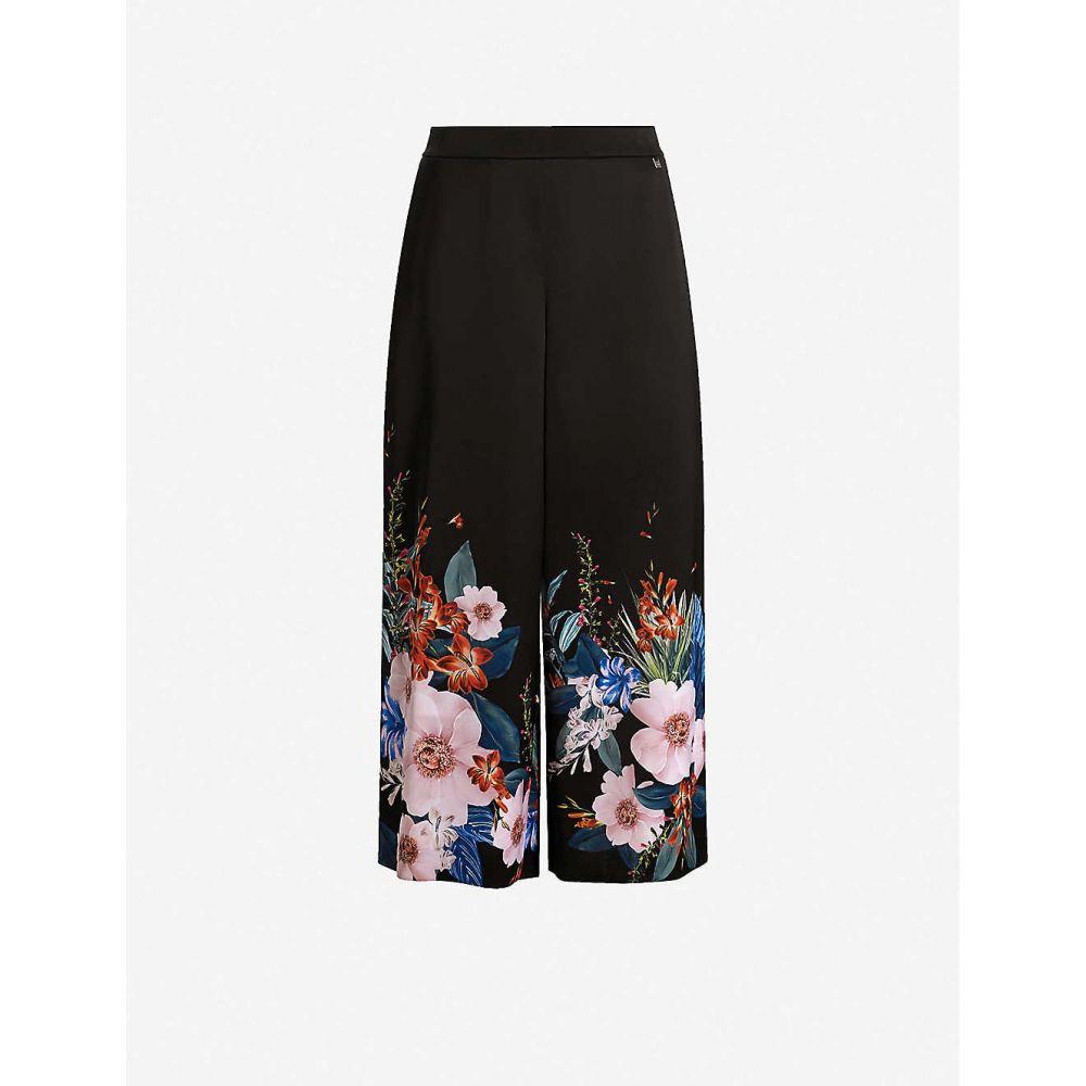 テッドベーカー TED BAKER レディース ボトムス・パンツ キュロット【Medou floral-print wide-leg high-rise satin culottes】BLACK