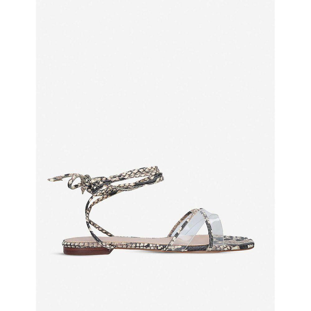 アルド ALDO レディース サンダル・ミュール レースアップ シューズ・靴【Candid lace-up snake-embossed faux-leather and perspex sandals】CREAM