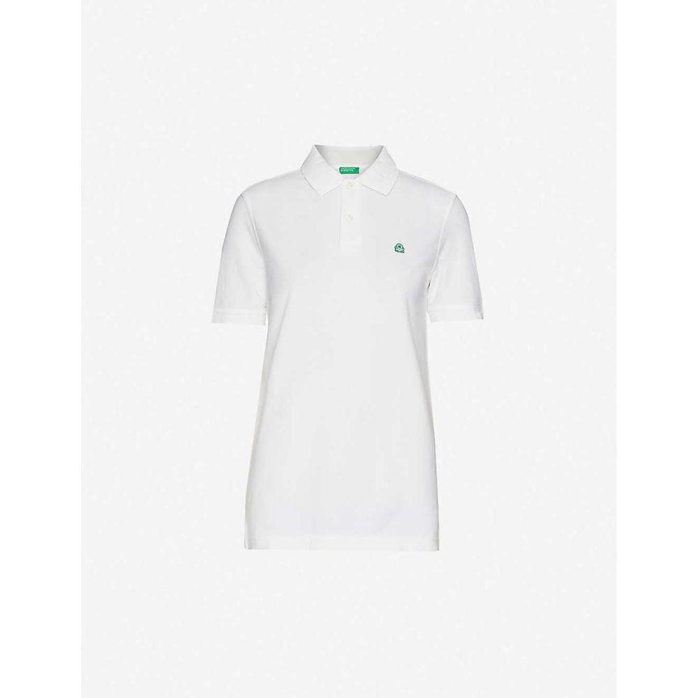 ベネトン BENETTON メンズ ポロシャツ トップス【Logo-embroidered cotton-piqu polo shirt】white