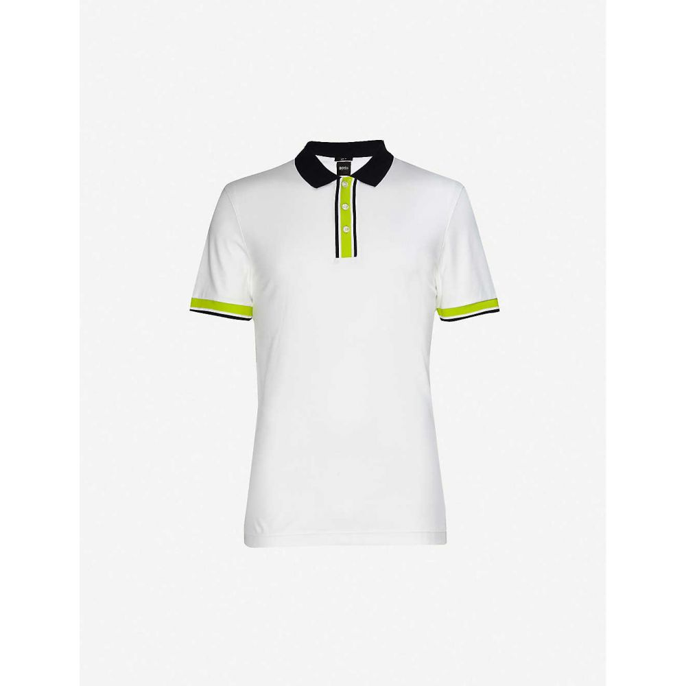ヒューゴ ボス BOSS メンズ ポロシャツ トップス【Neon-trimmed cotton polo top】White