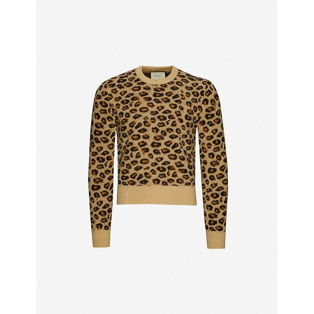 グッチ GUCCI メンズ ニット・セーター トップス【Leopard-print wool jumper】CAMEL BLACK