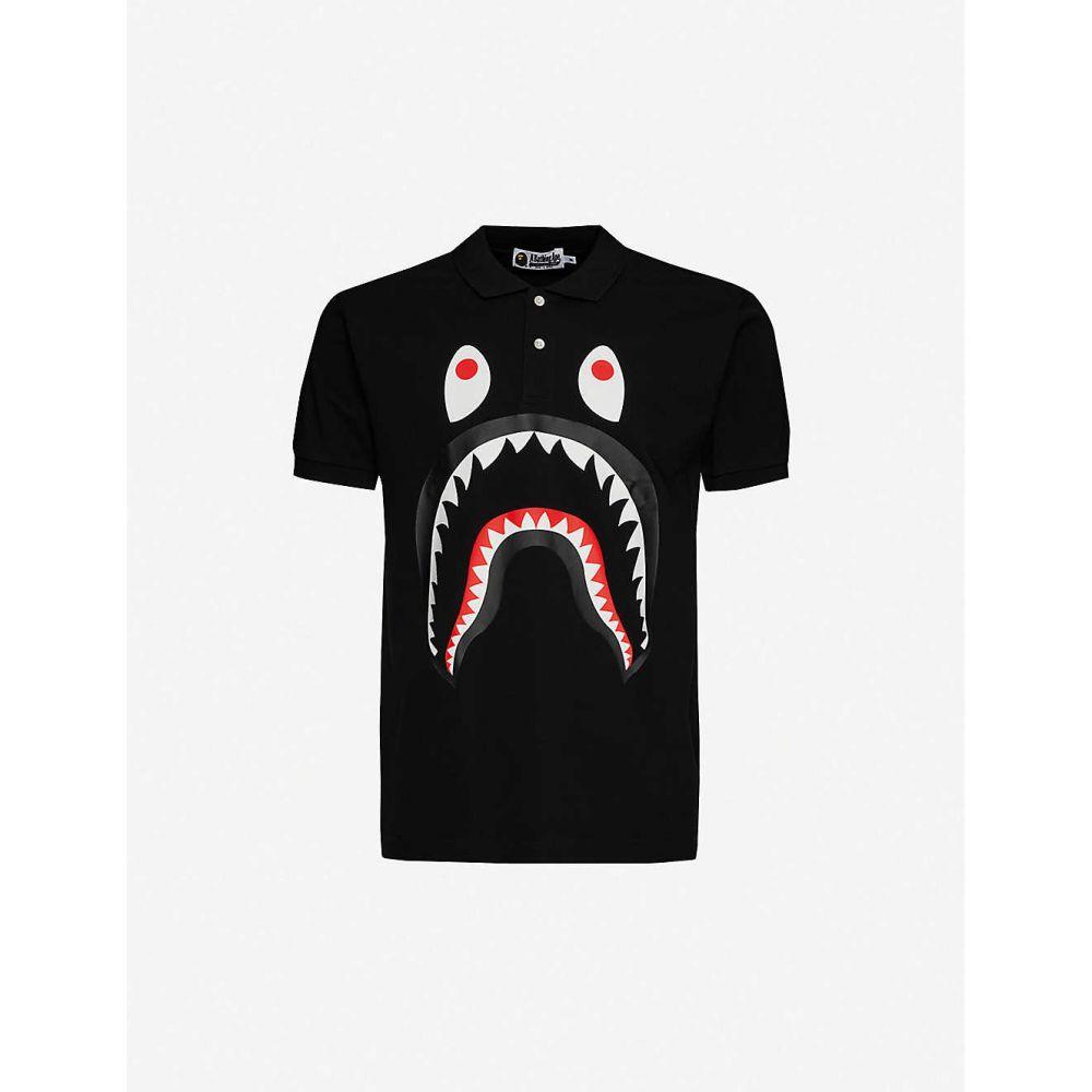 ア ベイシング エイプ A BATHING APE メンズ ポロシャツ トップス【Shark-print cotton-piquテゥ polo shirt】BLACK