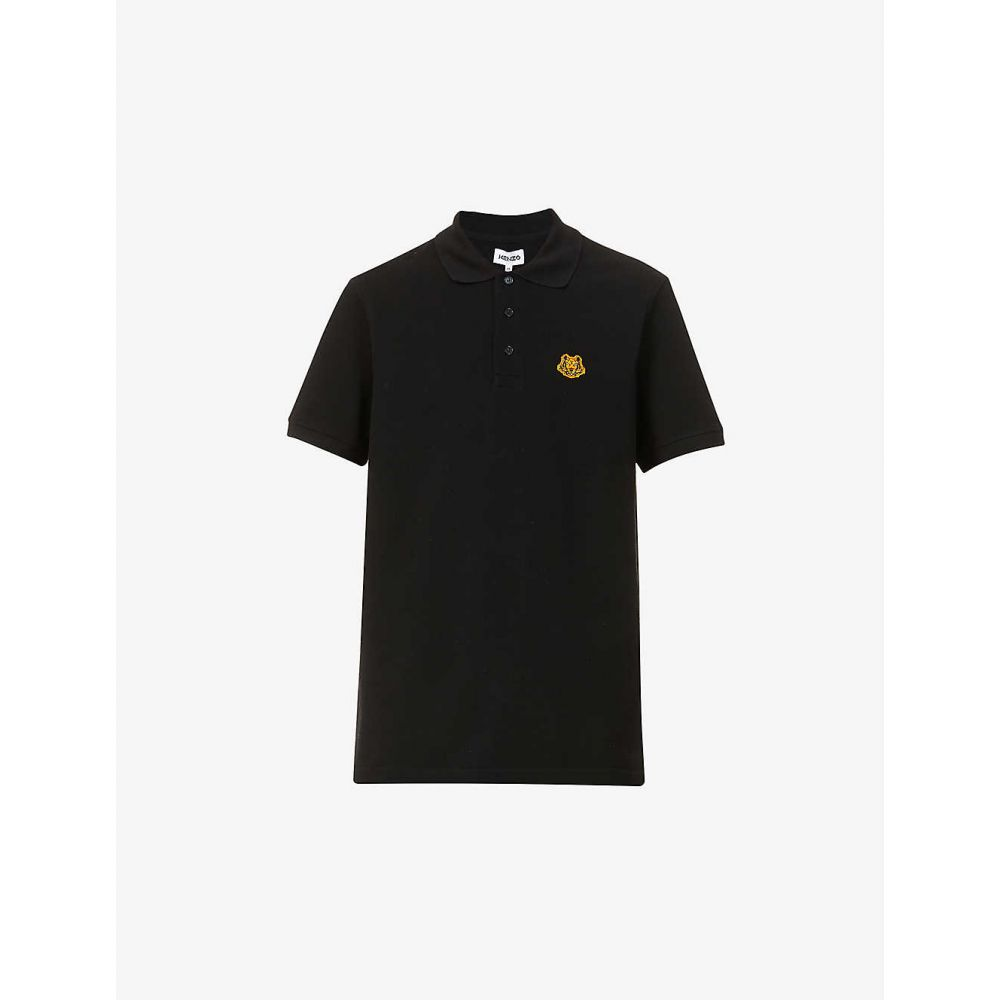 ケンゾー KENZO メンズ ポロシャツ トップス【Crest graphic-embroidered cotton-pique polo shirt】BLACK