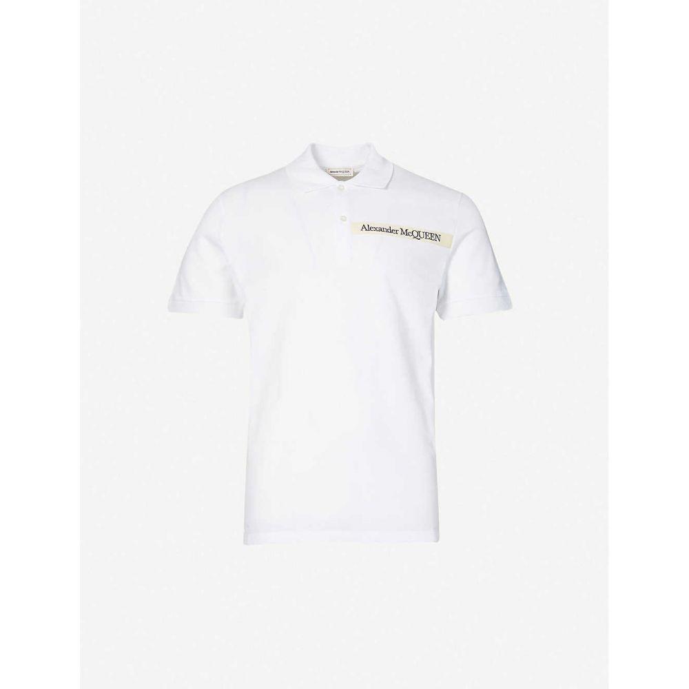 アレキサンダー マックイーン ALEXANDER MCQUEEN メンズ ポロシャツ トップス【Logo-tape cotton-piqu polo shirt】White