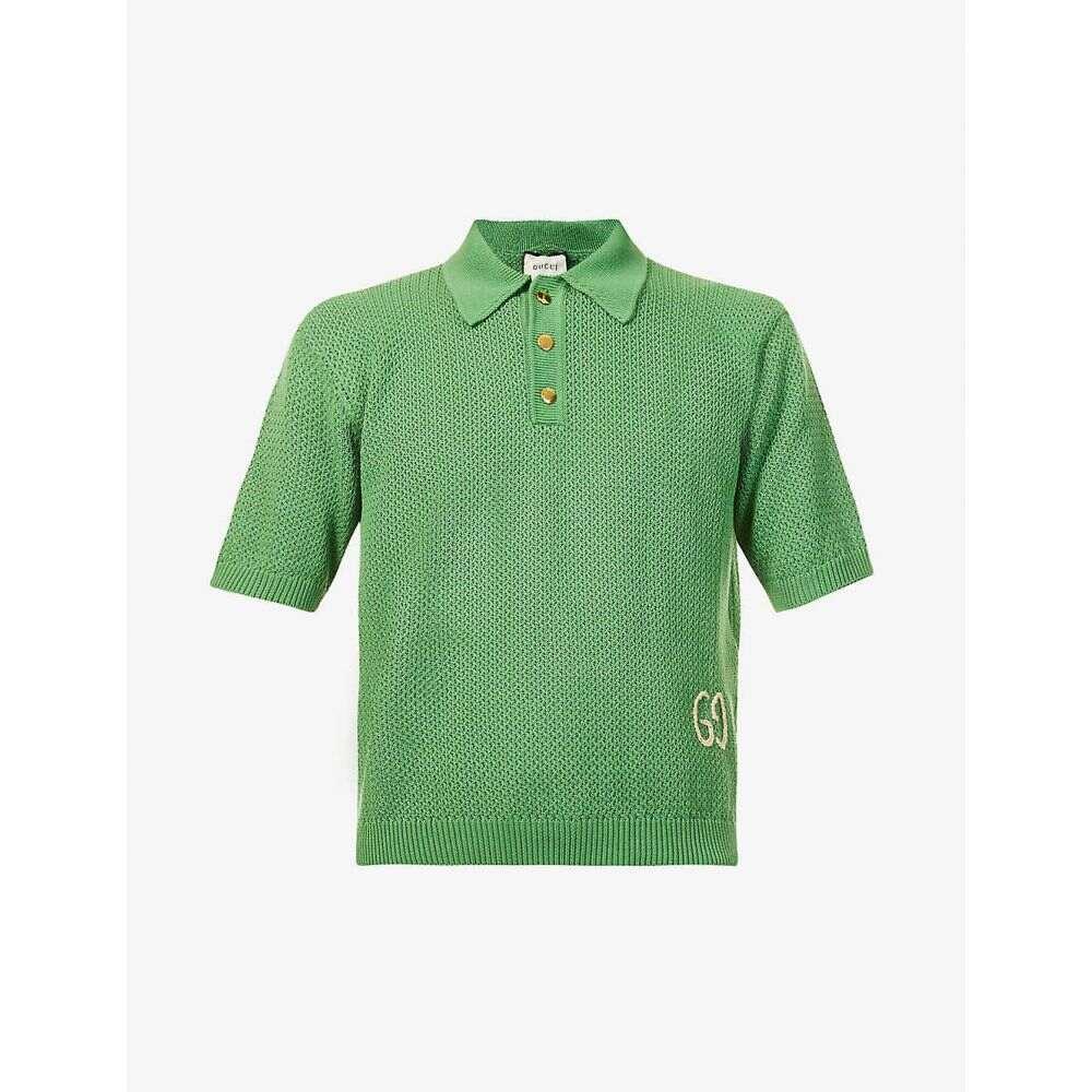 グッチ GUCCI メンズ ポロシャツ トップス【GG-embroidered cotton-knit polo shirt】GREEN