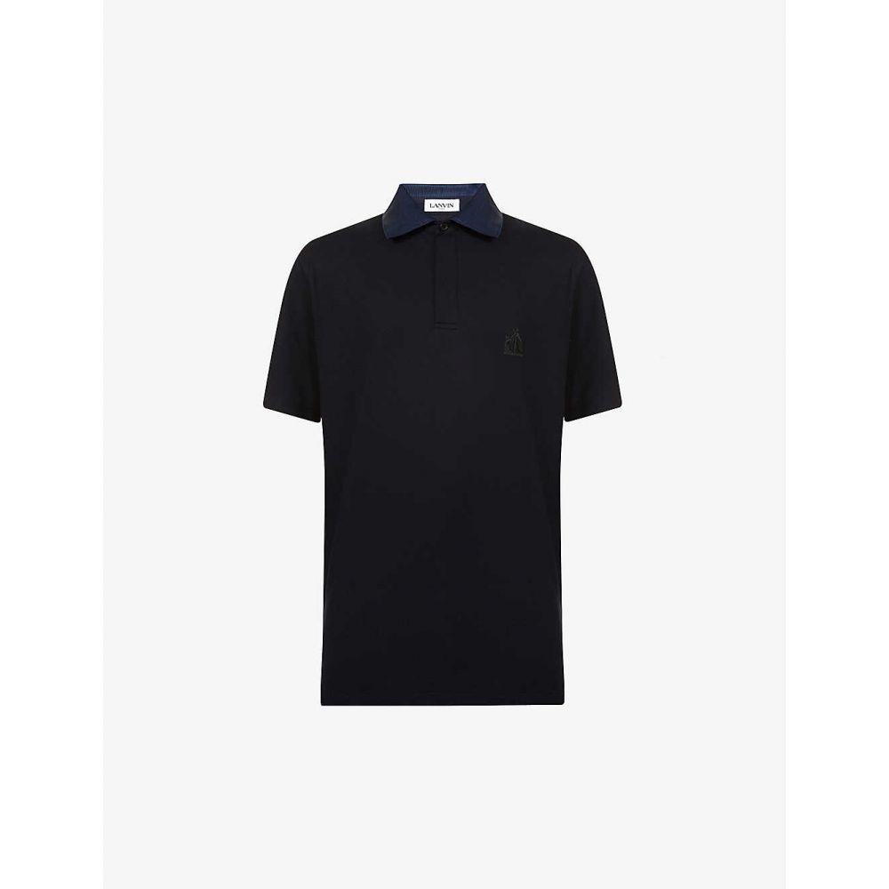 ランバン LANVIN メンズ ポロシャツ トップス【Contrast-collar cotton polo shirt】NAVY BLUE
