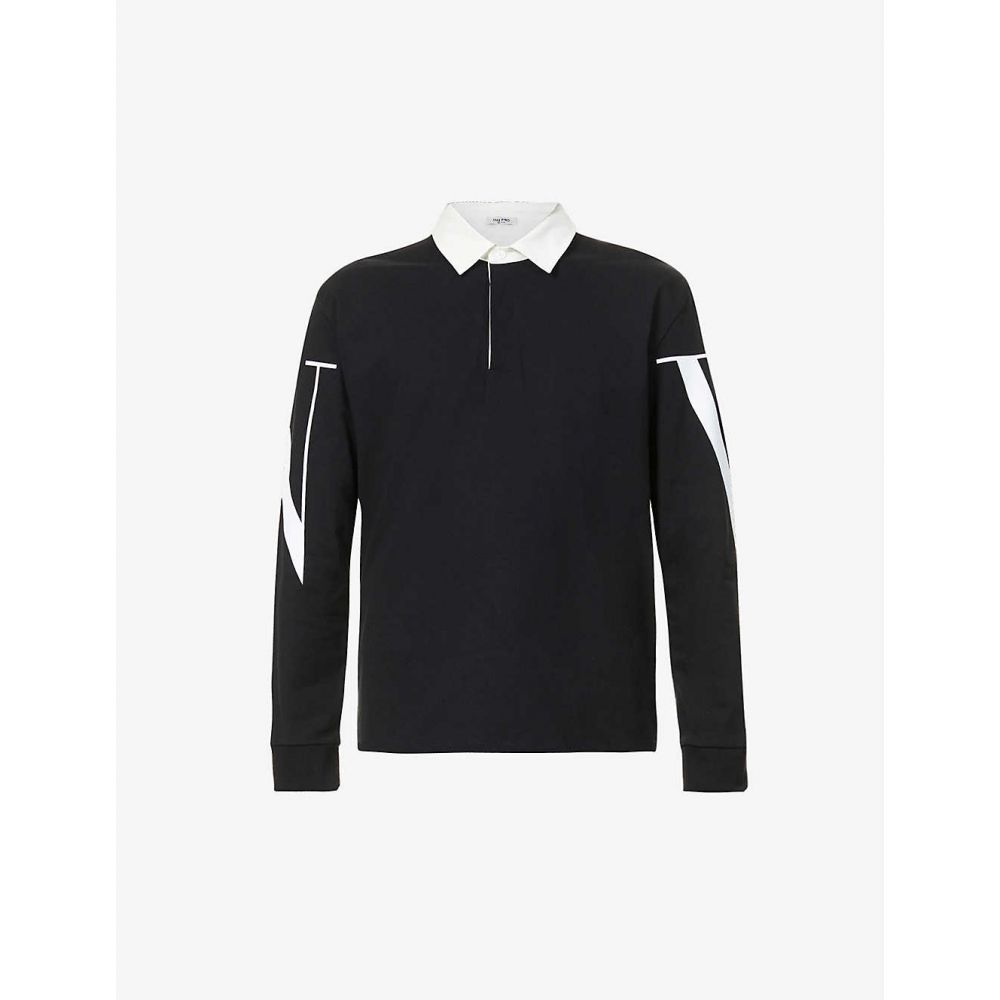 ヴァレンティノ VALENTINO メンズ ポロシャツ トップス【Brand-print notched-hem cotton polo shirt】NERO BIANCO
