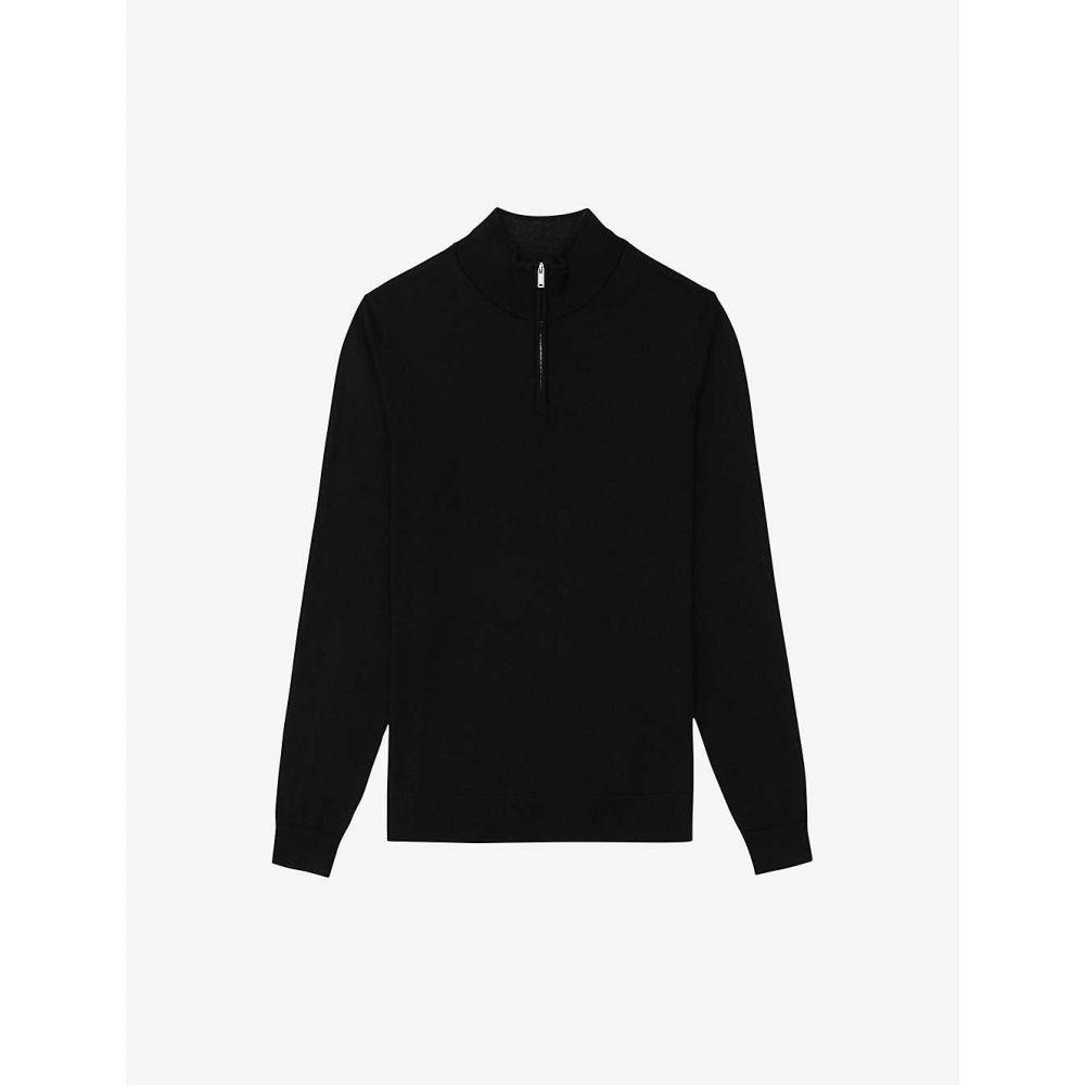リース REISS メンズ ニット・セーター トップス【Chester zip-neck wool jumper】BLACK